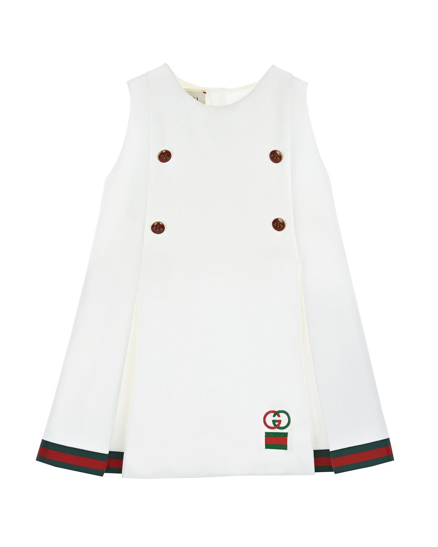Купить Белое платье с отделкой GG Web GUCCI детское, Белый, 55%полиэстер+45%хлопок, 65%вискоза+35%хлопок, 100%полиэстер