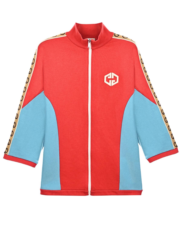 Купить Красная спортивная куртка с голубыми вставками GUCCI детская