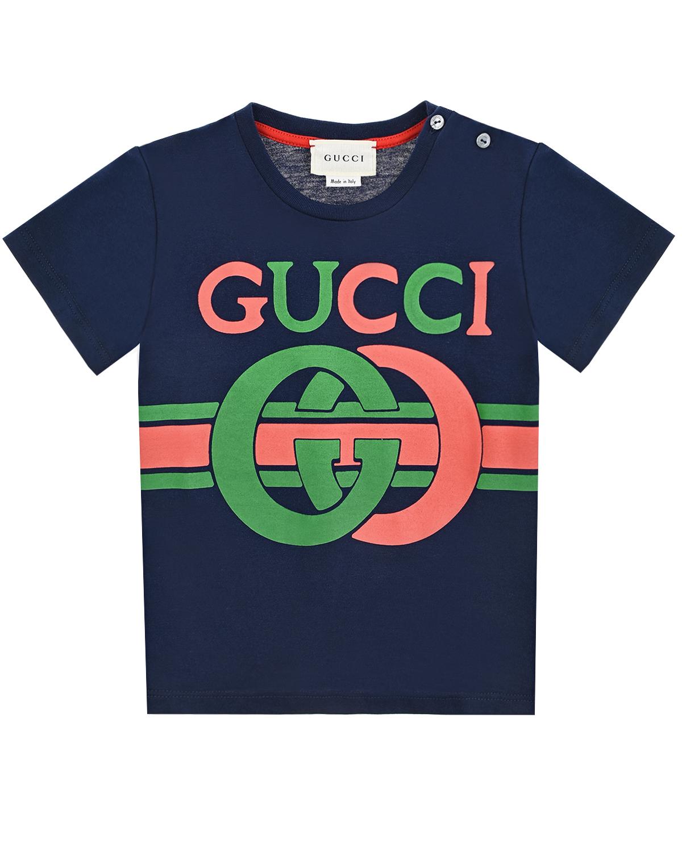 Купить Синяя футболка с разноцветным логотипом GUCCI детская, Синий, 100%хлопок