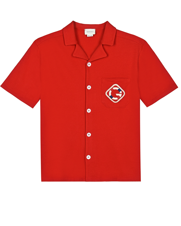 Купить Красная рубашка-поло с нашивкой G GUCCI детская