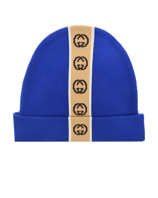 Синяя шапка с логотипом GUCCI детская фото
