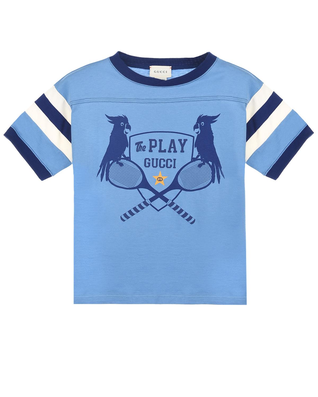 Купить Голубая футболка с принтом the Play GUCCI детская, Голубой, 100%хлопок