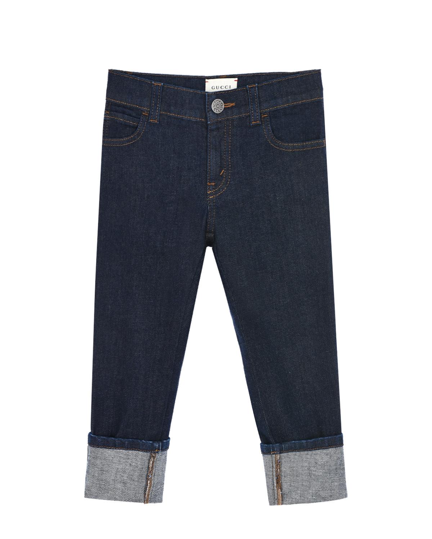 Купить Синие джинсы с отворотами GUCCI детские, Синий, 98%хлопок+2%эластан, 100%полиэстер