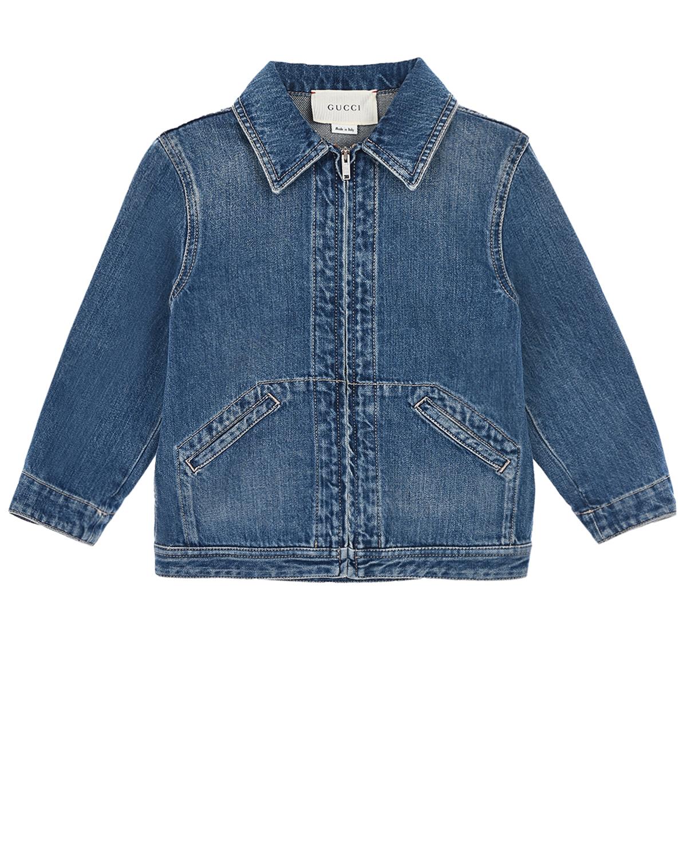 Синяя джинсовая куртка с вышивкой GUCCI детская фото