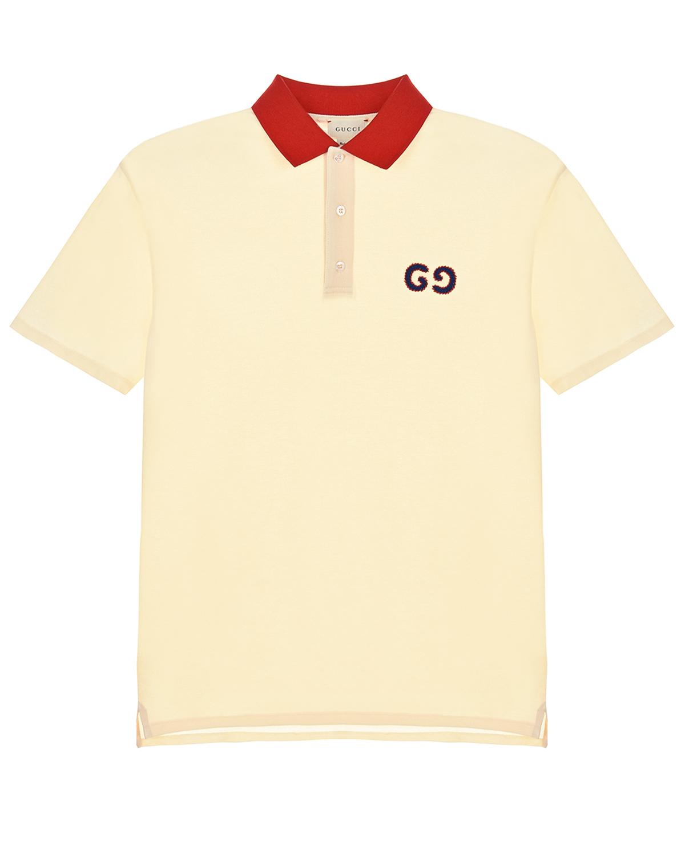 Купить Кремовая футболка-поло с красным воротником GUCCI детская, Кремовый, 96%хлопок+4%эластан, 100%хлопок, 100%полиэстер