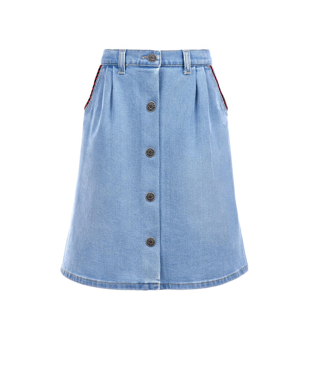 Купить Голубая джинсовая юбка GUCCI детская, Голубой, 98%хлопок+2%эластан, 100%полиэстер, 93%хлопок+7%полиэстер