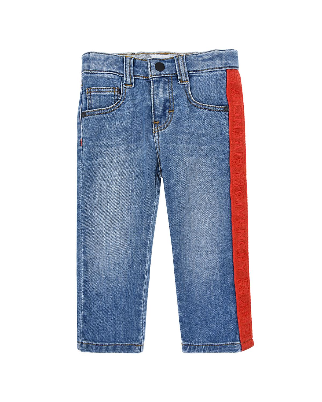 Купить Голубые джинсы с красным лампасом Givenchy детские, Голубой, 98%хлопок+2%эластан, 65%полиэстер+35%хлопок, 100%полиэстер