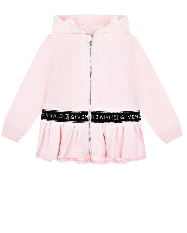 Купить Розовая спортивная куртка с баской Givenchy детская, Нет цвета, 100%хлопок, 98%хлопок+2%эластан, 86%хлопок+14%эластан, 40%полиэстер+35%полиамид+25%эластодиен