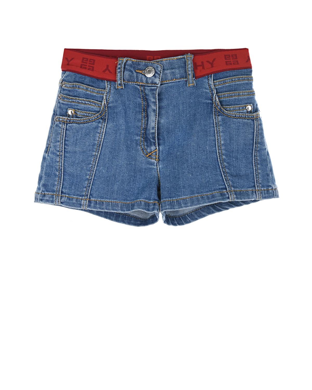 Купить Голубые джинсовые шорты с красным поясом Givenchy детские, Голубой, 98%хлопок+2%эластан, 65%полиэстер+35%хлопок, 56%полиамид+34%эластан+10%полиэстер