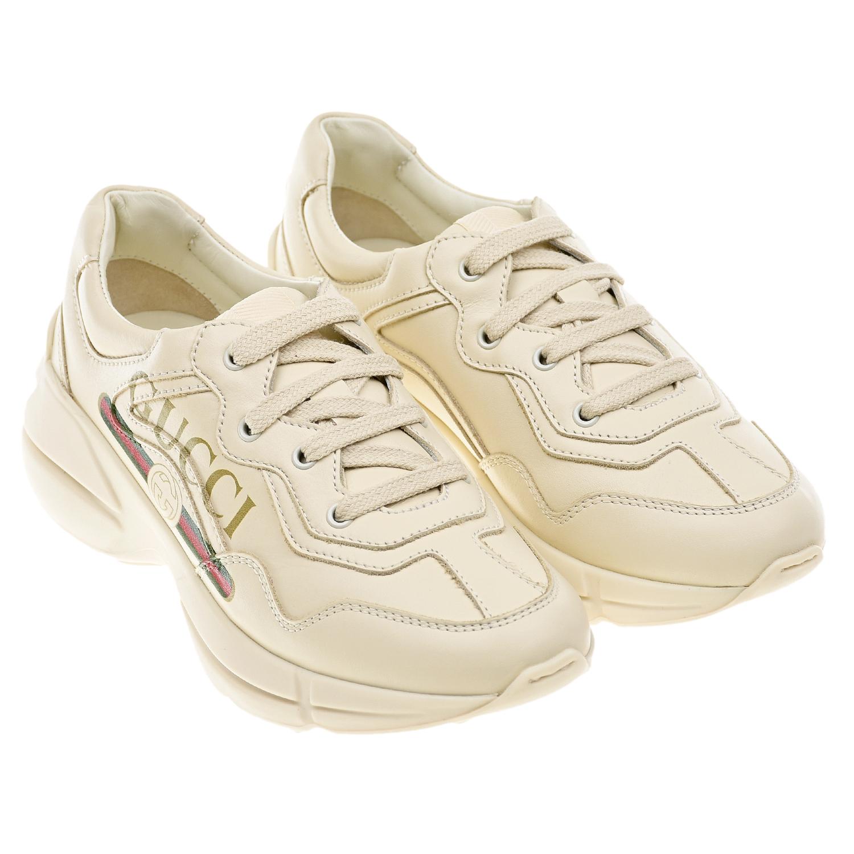 Кожаные кроссовки кремового цвета GUCCI детские фото