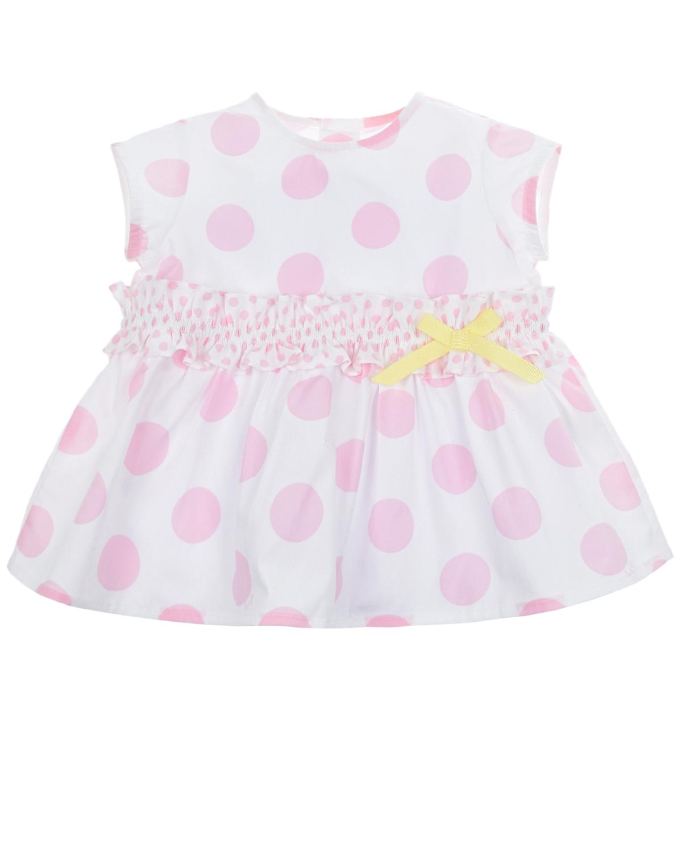 Купить Платье в крупный розовый горох IL Gufo детское, Розовый, 100%хлопок