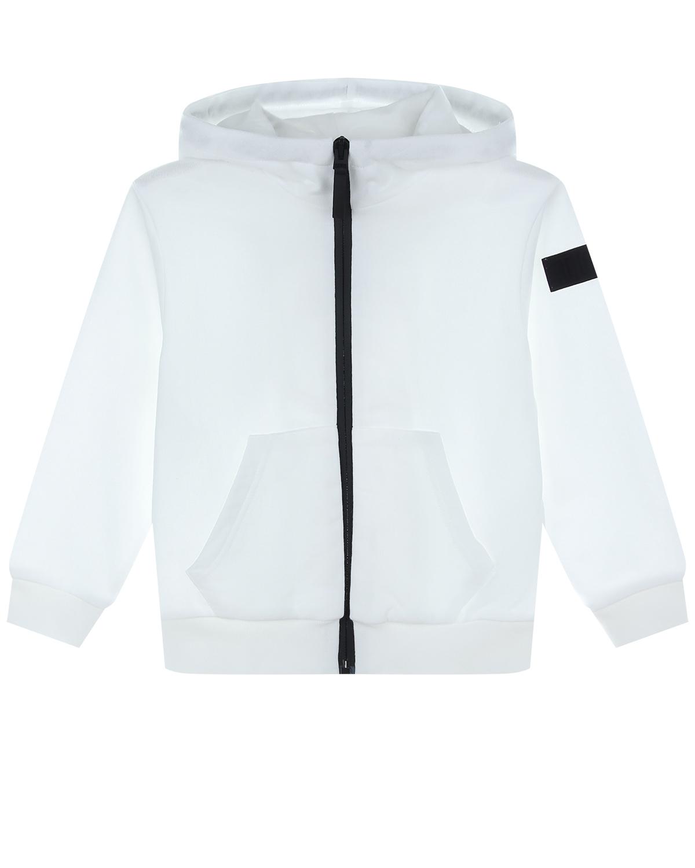 Купить Белая спортивная куртка с капюшоном IL Gufo детская, Белый, 100%хлопок, 95%хлопок+5%эластан
