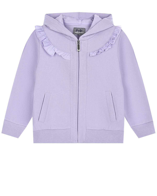 Купить Сиреневая спортивная куртка с капюшоном IL Gufo детская, Сиреневый, 100%хлопок, 95%хлопок+5%эластан