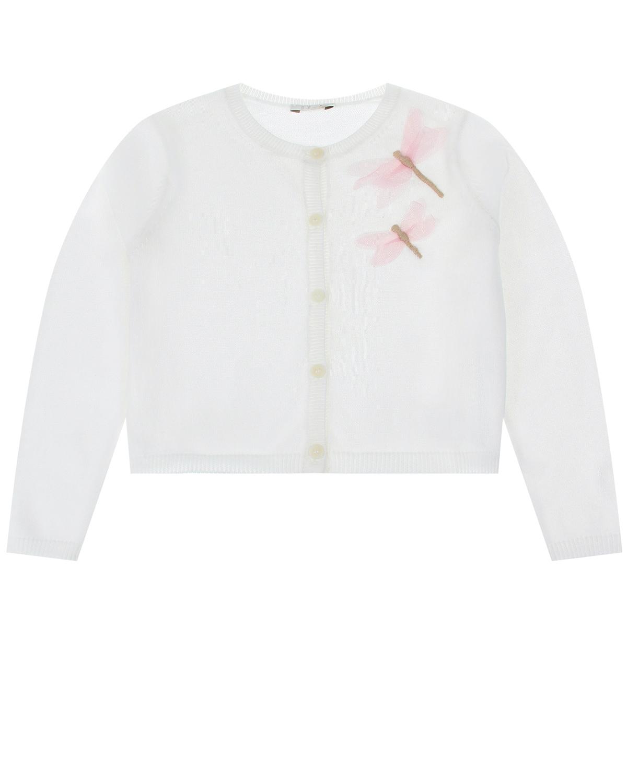 Купить Белая кофта с декором стрекозы IL Gufo детская, Белый, 100%хлопок