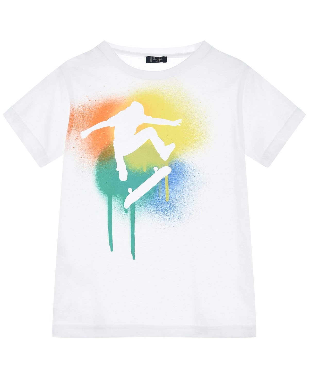 Купить Белая футболка с принтом скейтер IL Gufo детская, Белый, 100%хлопок