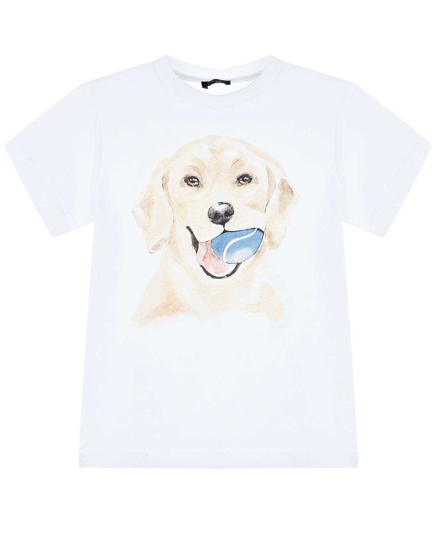 Купить Белая футболка с принтом собака IL Gufo детская, Белый, 100%хлопок
