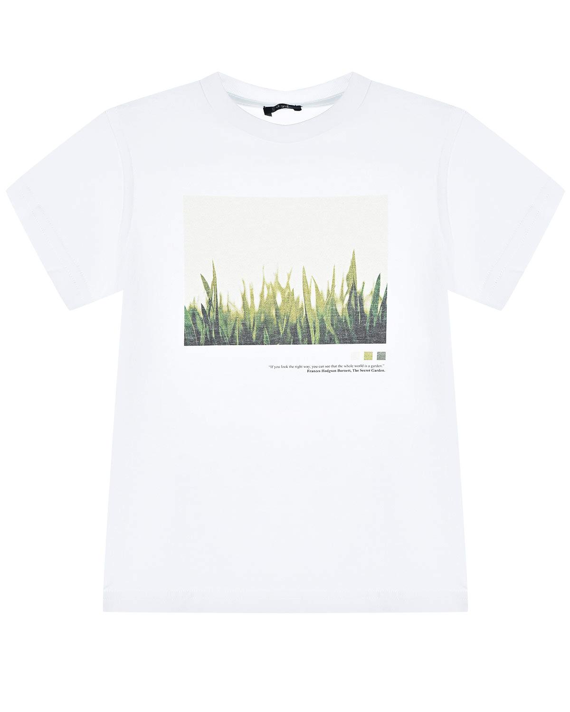 Купить Белая футболка с принтом трава IL Gufo детская, Белый, 100%хлопок