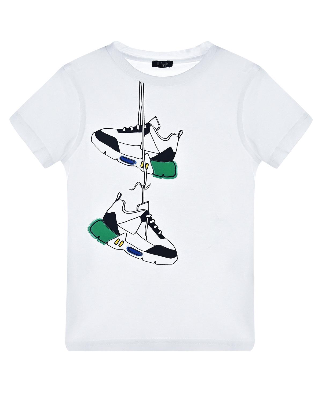 Купить Белая футболка с принтом кроссовки IL Gufo детская, Белый, 100%хлопок