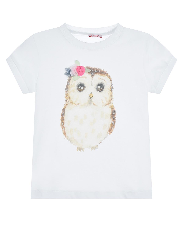 Купить Белая футболка с принтом сова IL Gufo детская, Белый, 100%хлопок