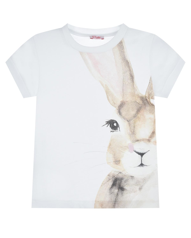 Купить Белая футболка с принтом заяц IL Gufo детская, Белый, 100%хлопок