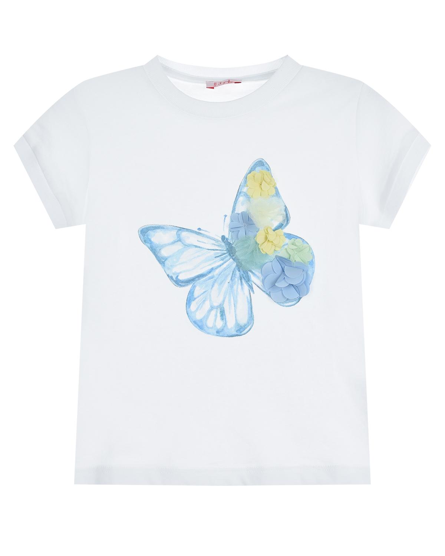 Купить Белая футболка с принтом бабочка IL Gufo детская, Белый, 100%хлопок