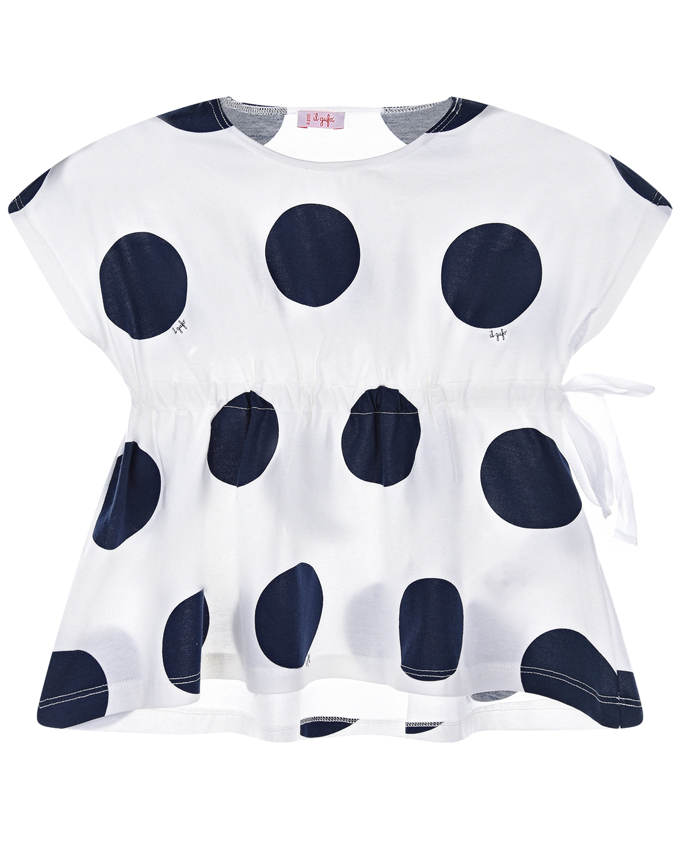 Белая футболка в синий горошек IL Gufo детская фото