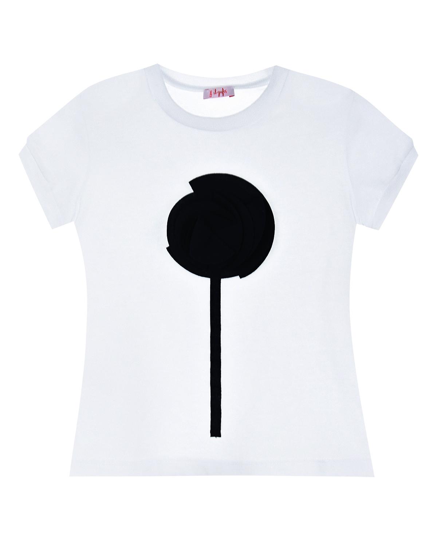 Купить Белая футболка с принтом цветок IL Gufo детская
