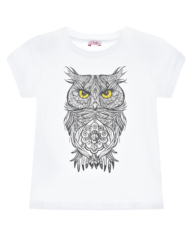 Купить Белая футболка с принтом сова IL Gufo детская