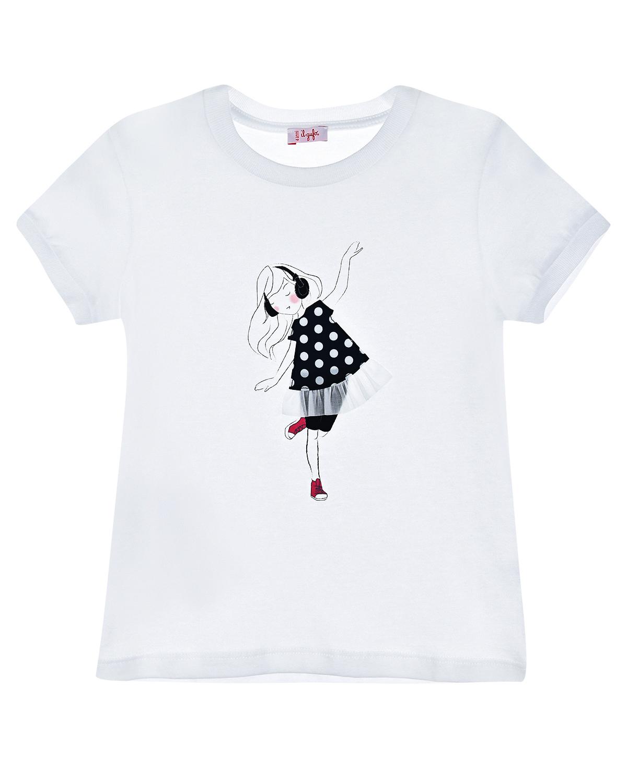 Купить Белая футболка с принтом девочка в платье IL Gufo детская, Белый, 100%хлопок