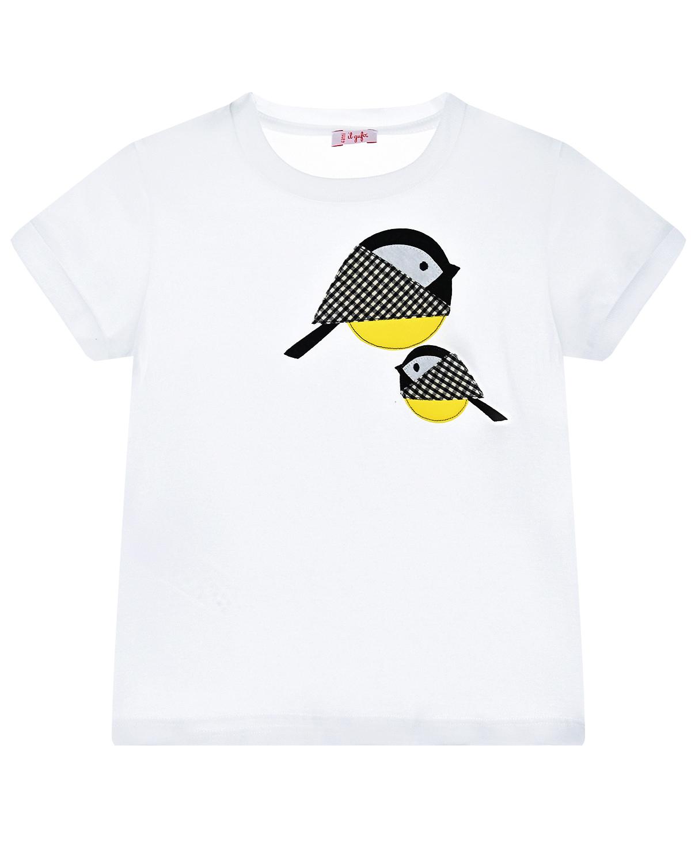 Купить Белая футболка с принтом птицы IL Gufo детская, Белый, 100%хлопок