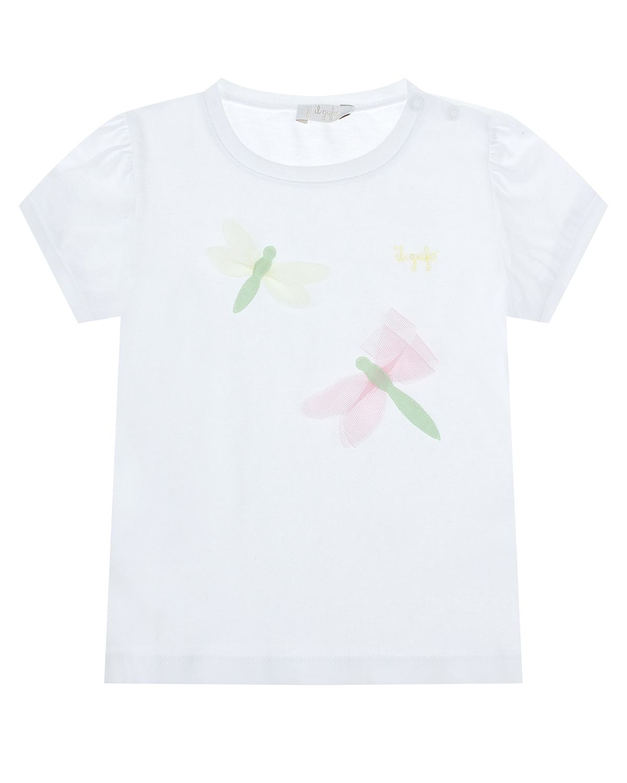 Купить Белая футболка с принтом стрекозы IL Gufo детская, Белый, 100%хлопок
