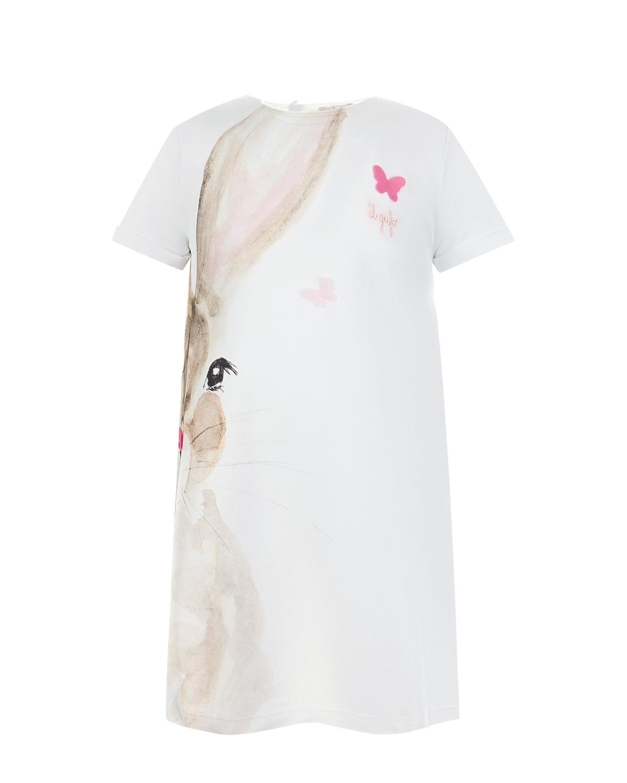 Купить Белое платье-футболка с принтом заяц IL Gufo детское, Белый, 100%хлопок