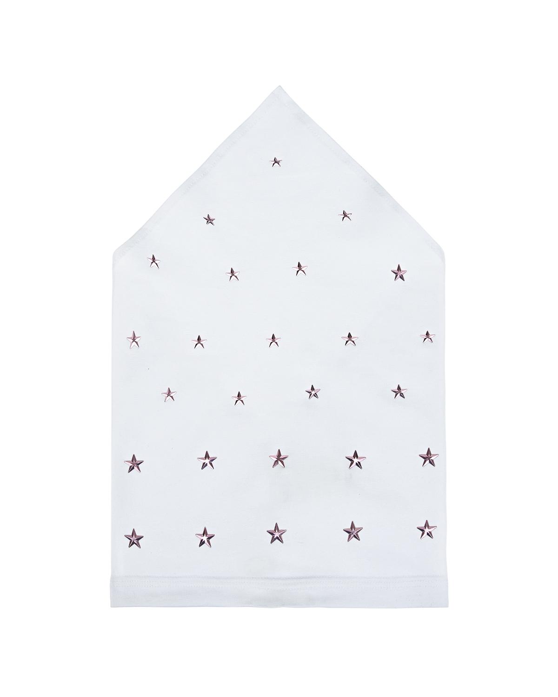 Купить Белая косынка с розовыми звездами Il Trenino детская, Нет цвета, 95%хлопок+5%эластан