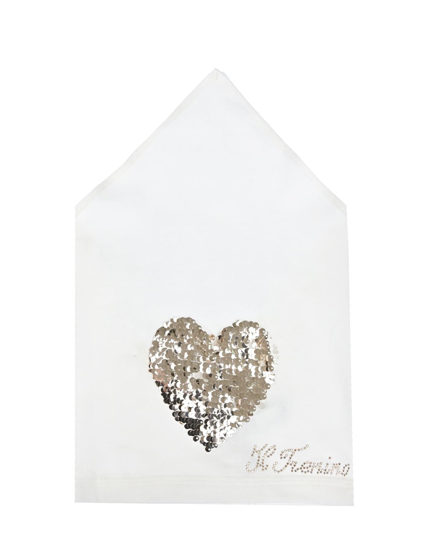 Купить Косынка с сердцем из пайеток Il Trenino детская, Нет цвета, 95%хлопок+5%эластан