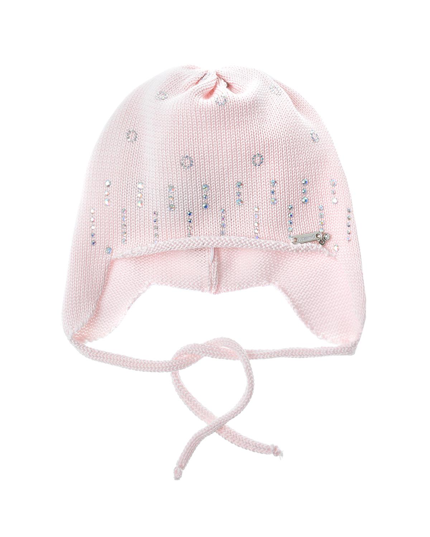 Купить Вязаная шапка на завязках с декором из стразов Il Trenino детская, Нет цвета, 100%хлопок