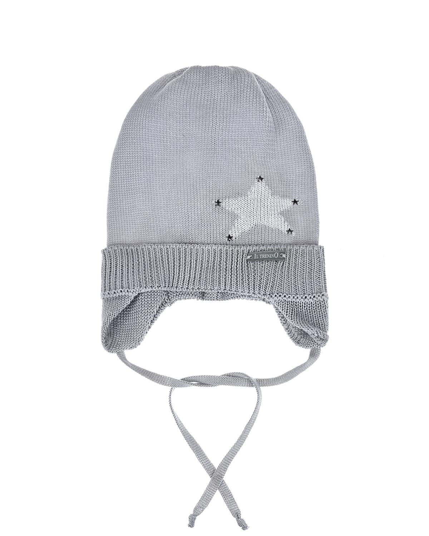 Купить Серая шапка со звездой Il Trenino детская, Нет цвета, 100%хлопок