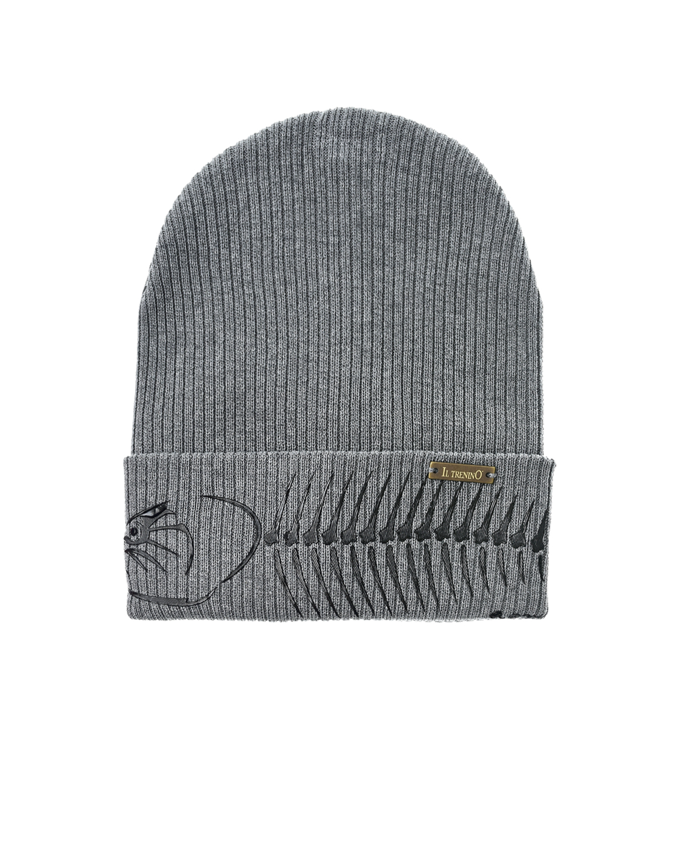 Купить Серая шапка с принтом на отвороте Il Trenino детская, Нет цвета, 100%хлопок