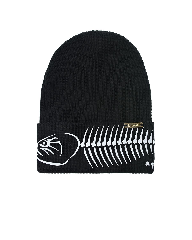 Купить Черная шапка с принтом скелет рыбы Il Trenino детская, Нет цвета, 100%хлопок