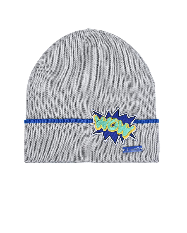 Купить Серая шапка с нашивкой wow Il Trenino детская, Нет цвета, 100%хлопок