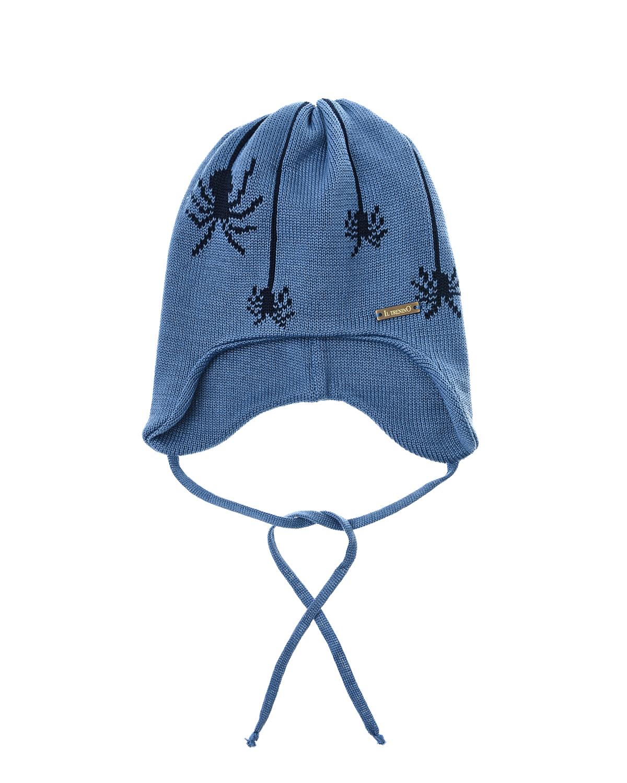 Купить Синяя шапка с декором пауки Il Trenino детская, Нет цвета, 100%хлопок