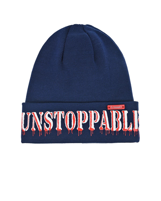 Купить Синяя шапка с надписью UNSTOPPABLE Il Trenino детская, Нет цвета, 100%хлопок
