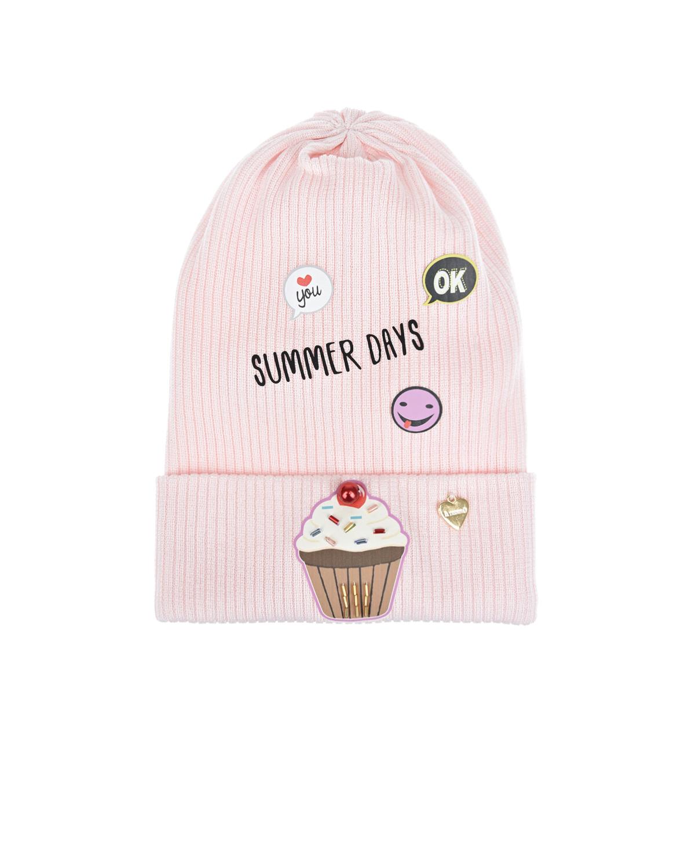 Купить Розовая шапка с принтом summer days Il Trenino детская, Нет цвета, 100%хлопок