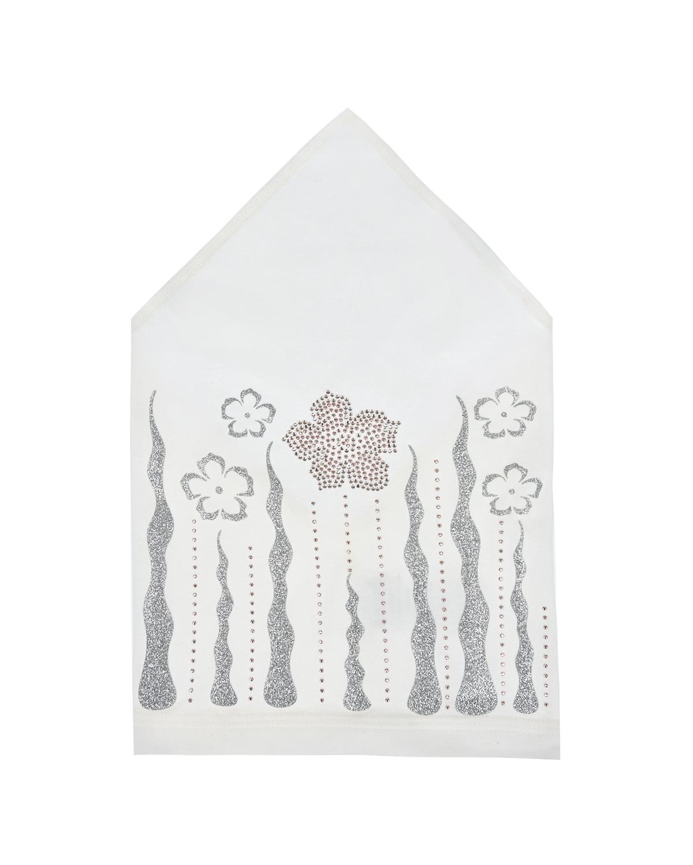 Купить Кремовая косынка с серебристыми цветами Il Trenino детская, Нет цвета, 95%хлопок+5%эластан