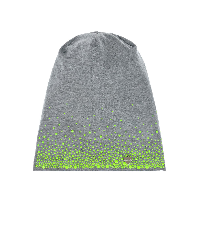 Купить Серая шапка с зелеными стразами Il Trenino детская, Нет цвета, 95%хлопок+5%эластан