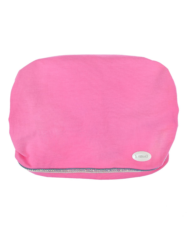 Купить Розовая косынка-повязка со стразами Il Trenino детская, Нет цвета, 95%хлопок+5%эластан
