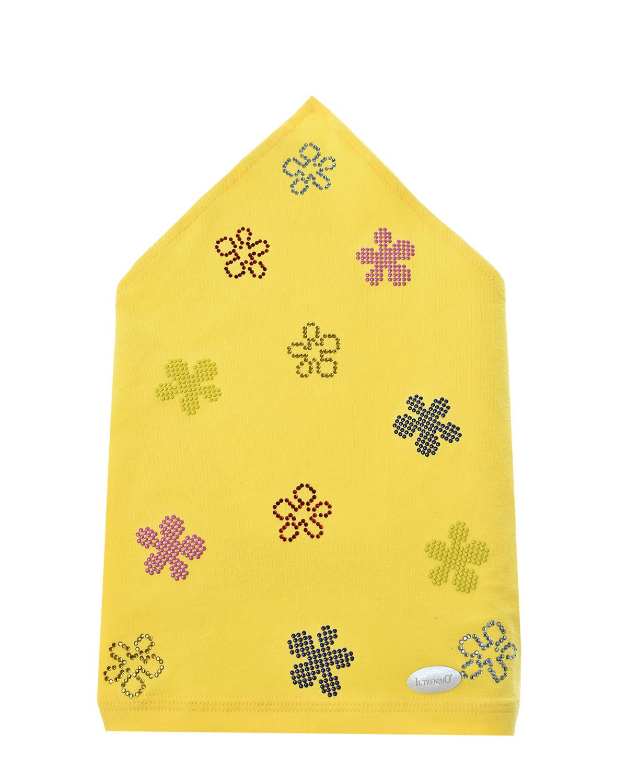 Купить Желтая косынка с цветами из страз Il Trenino детская, Нет цвета, 95%хлопок+5%эластан