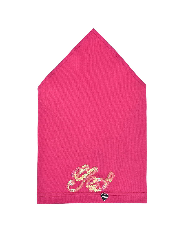 Купить Розовая косынка с вышивкой пайетками Il Trenino детская, Нет цвета, 95%хлопок+5%эластан