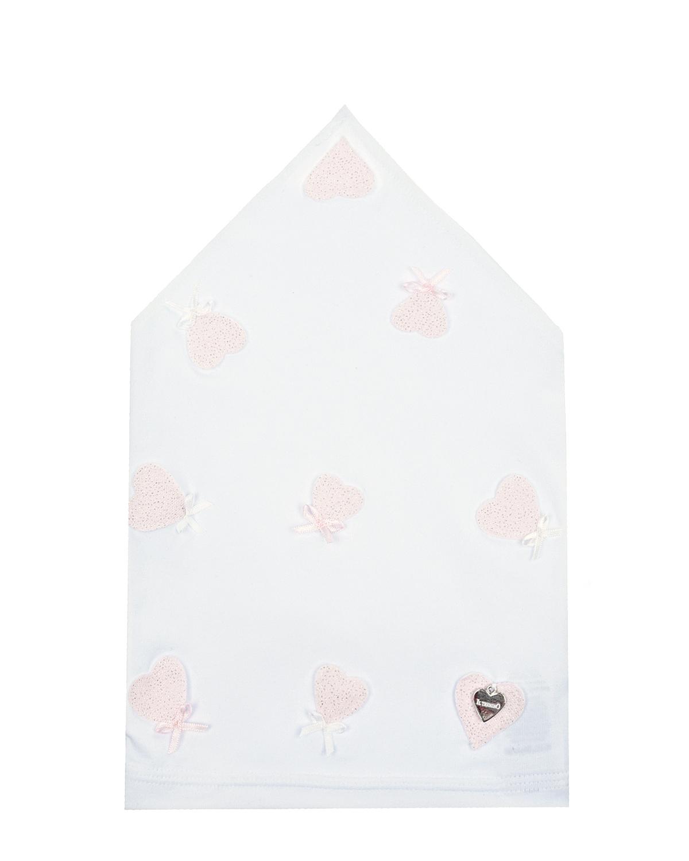 Купить Белая косынка с розовыми сердцами Il Trenino детская, Нет цвета, 95%хлопок+5%эластан