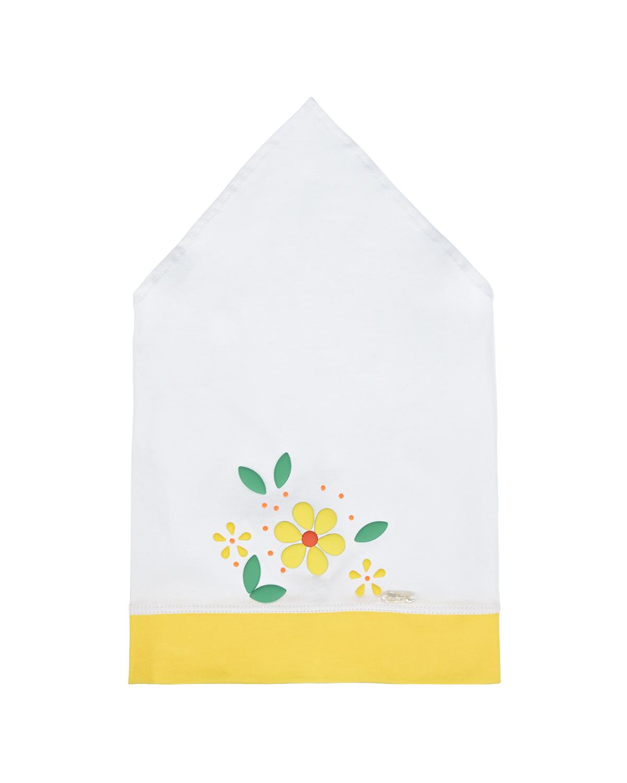 Купить Белая косынка с цветочным декором Il Trenino детская, Нет цвета, 95%хлопок+5%эластан