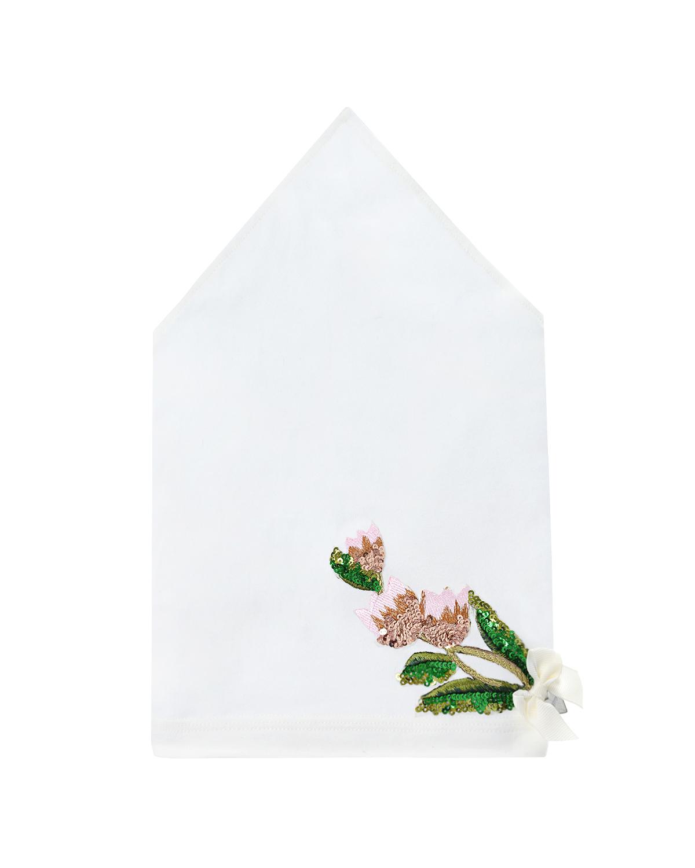 Купить Белая косынка с цветочной аппликацией Il Trenino детская, Нет цвета, 95%хлопок+5%эластан